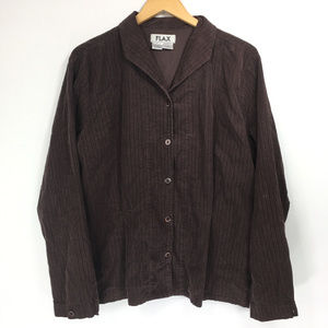 Flax Large Shirt Button Brown Corduroy